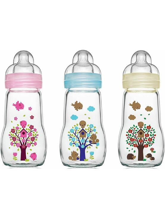MAM Feel Good Glass Baby Bottle 260ml - Choose your colour