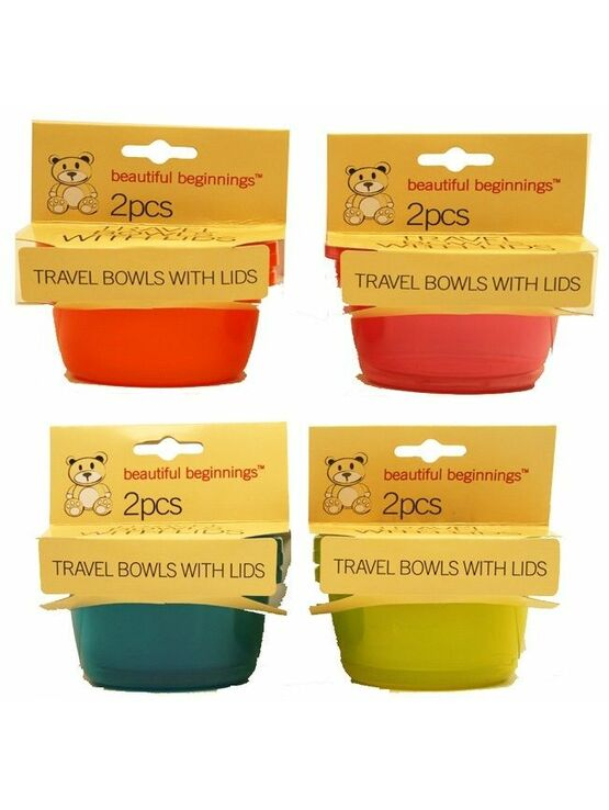 Beautiful Beginnings Travel Bowls with Lid (assorted Colours) 2 Pack