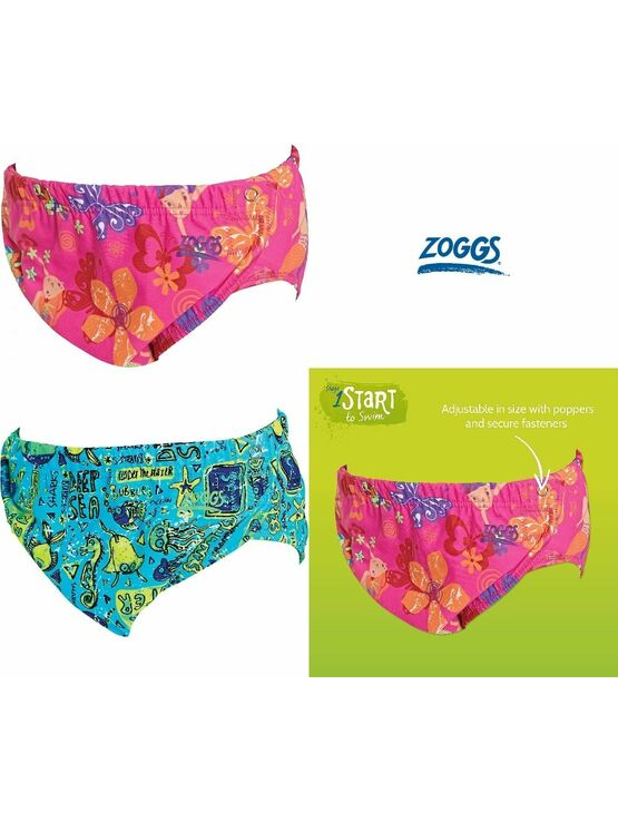 Zoggs Adjustable Reusable Baby Swim Nappy one size 3 to 24 mths - Choose your design