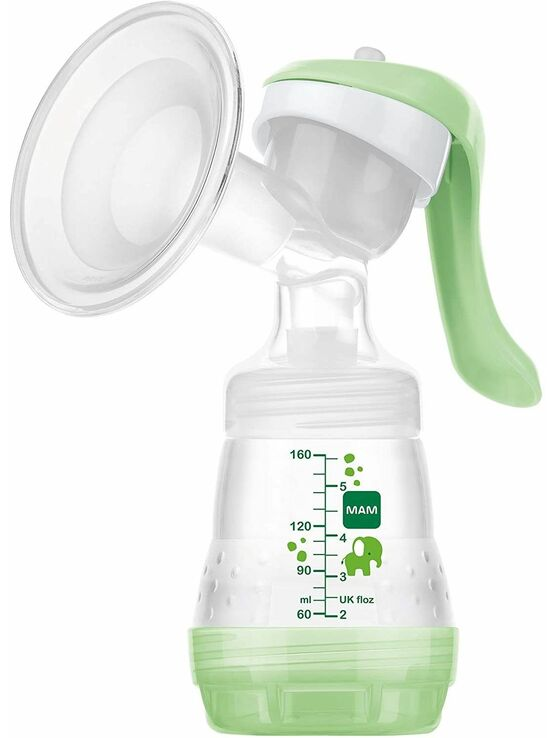 MAM Manual Breast Pump, Soft Silicone Breast Pump with \'One Size Fits All\' Funnel