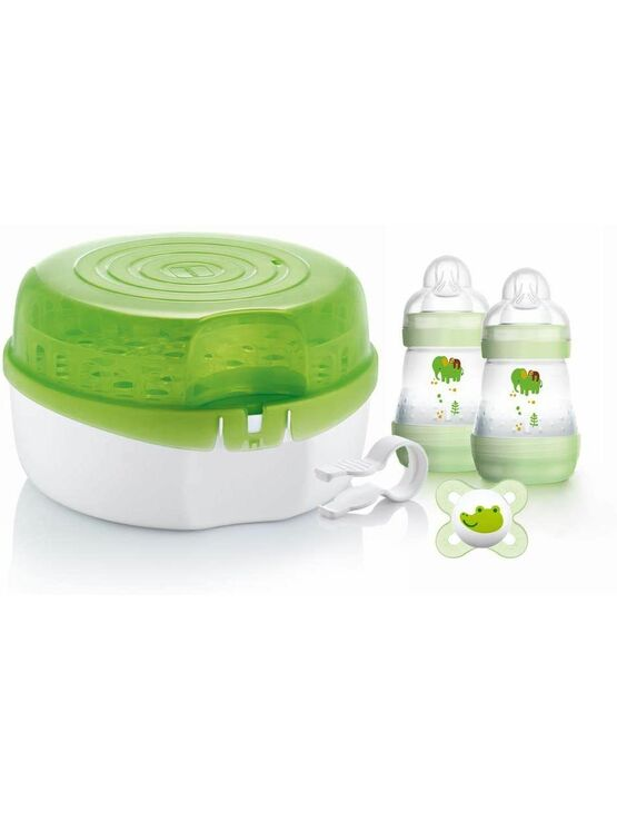 MAM Microwave Steam Steriliser with 2 x MAM Easy Start Self Sterilising Anti-Colic Baby Bottles and Baby Soother