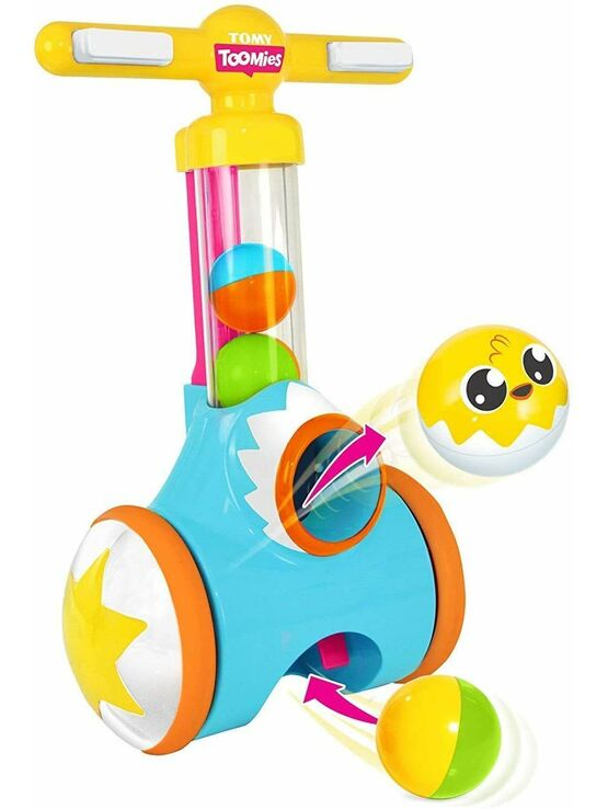 TOMY Toomies Pic & Pop Push Along Baby Toy | Toddler Ball Popper With Ball Launcher And Collector