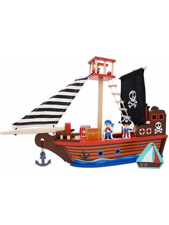 jumini Wooden Toy Pirate Ship - with 2 Pirates and 3 Accessories - Jolly Roger flag