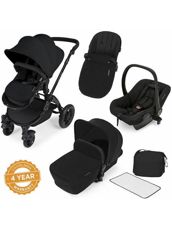 Ickle Bubba Stomp V2 All-in-One Travel System - Black With Black Frame
