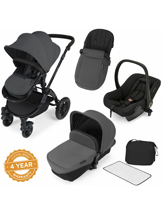 Ickle Bubba StompV2 All-in-One Travel System - Graphite Grey With Black Frame