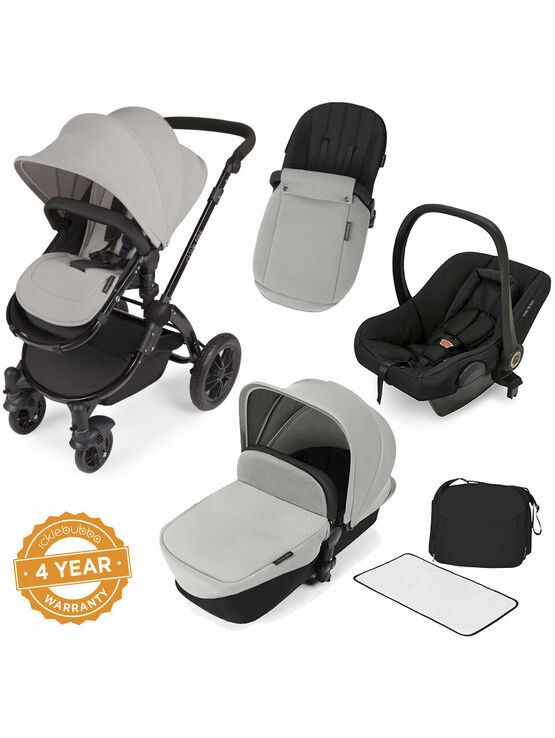Ickle Bubba StompV2 All-in-One Travel System - Silver With Black Frame