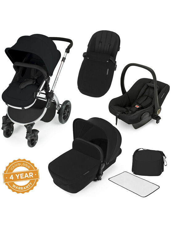 Ickle Bubba Stomp V2 All-in-One Travel System - Black With Silver Frame