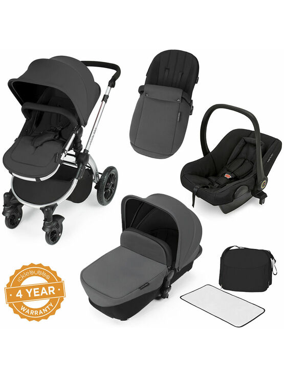 Ickle Bubba Stomp V2 All-in-One Travel System - Graphite Grey With Silver Frame