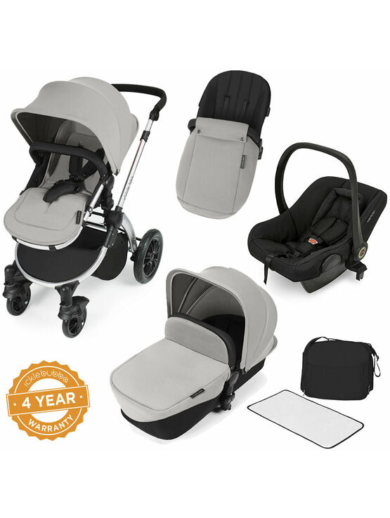 Ickle Bubba StompV2 All-in-One Travel System - Silver With Silver Frame
