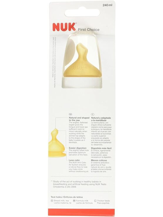 NUK First Choice Glass Baby Bottle, Anti-Colic, 0-6 Months 240ML