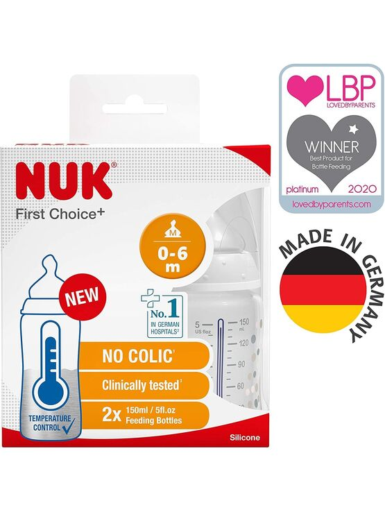 NUK First Choice+ Temperature Control 150ml Baby Bottle - 2 Pack