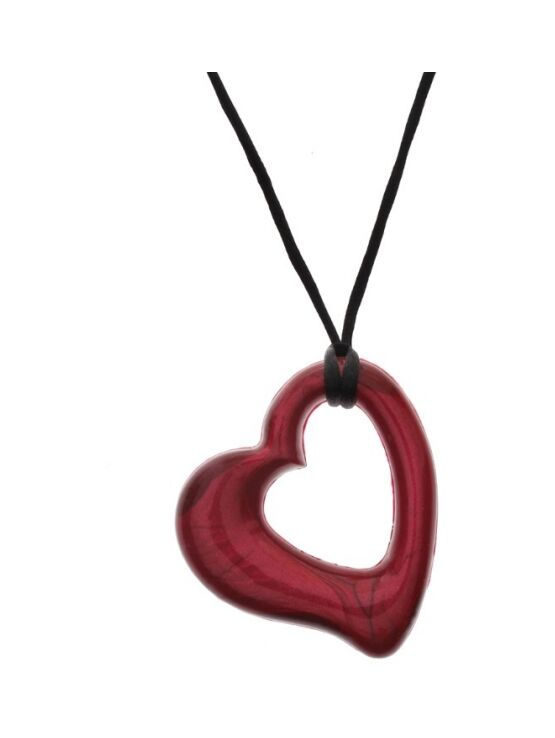 Gumigem Miller Hearts Teething Necklace - Chillipepper Red