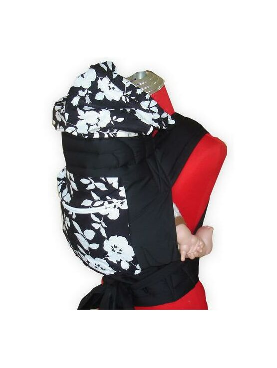 Black & White Floral Mei Tai Baby Sling With Hood & Pocket