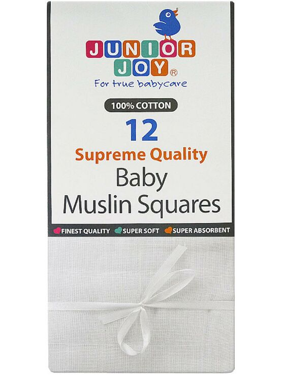 Junior Joy 12 Pack of White Cotton Muslin Squares