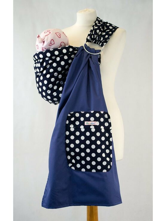 Palm & Pond Baby Ring Sling - Navy Blue & White Spots