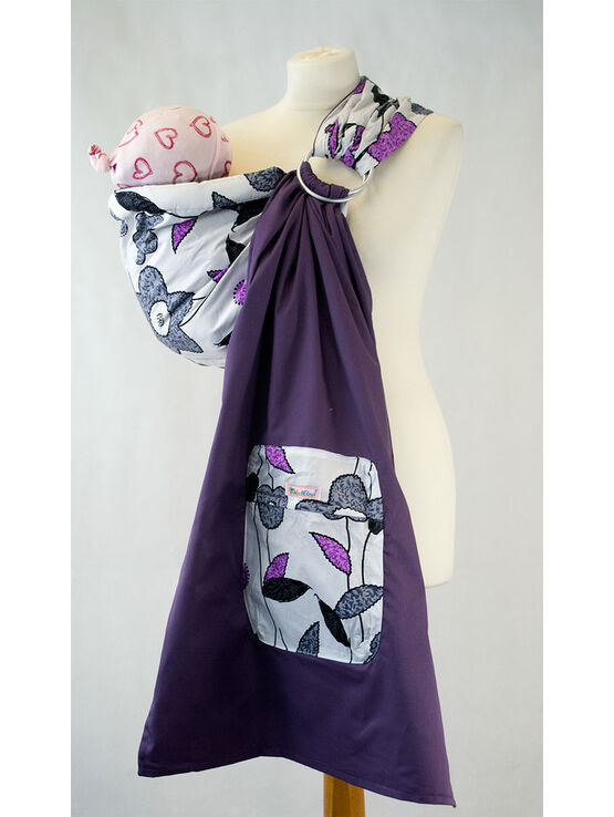 Palm & Pond Baby Ring Sling in Purple/Grey with Floral Pattern
