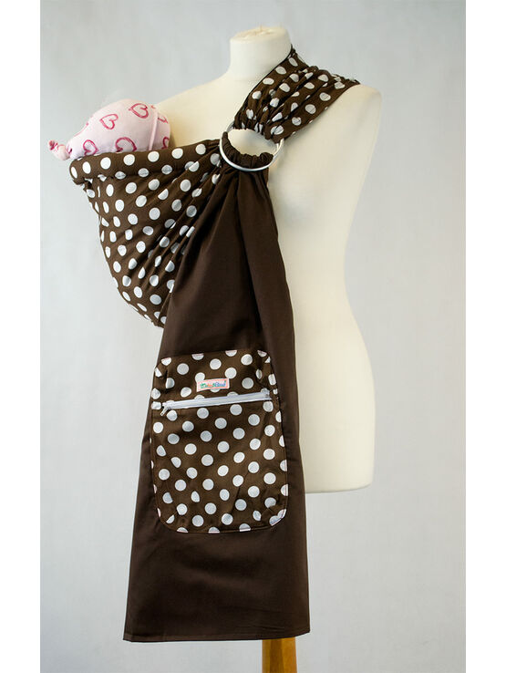 Ring Sling - Brown with White Polka Dots