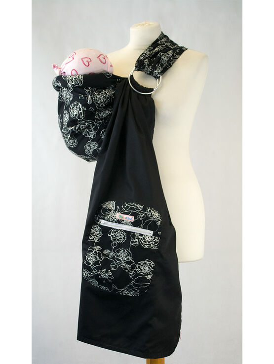 Ring Sling - White Floral on Black