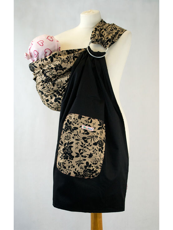Ring Sling - Black Floral on Tan