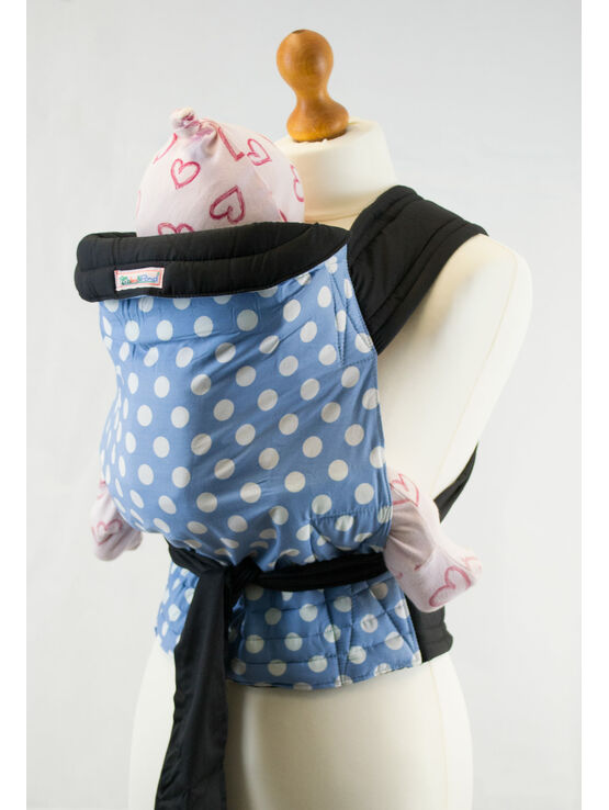 Pale Blue Mei Tai Baby Sling with White Polka Dots