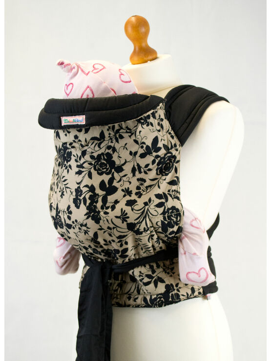 Palm & Pond Mei Tai Baby Sling -Black Floral on Tan