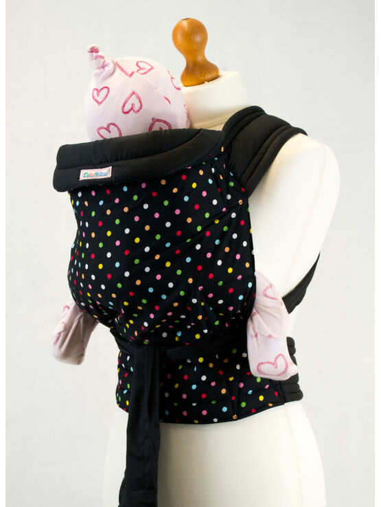 Palm & Pond Mei Tai Sling - Black & Multi Polka Dot Pattern