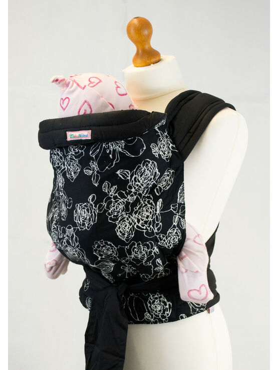 Palm & Pond Mei Tai Baby Sling - White Floral on Black