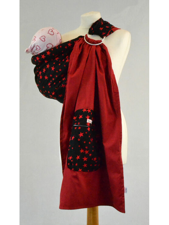 Ring Sling - Black Red Stars