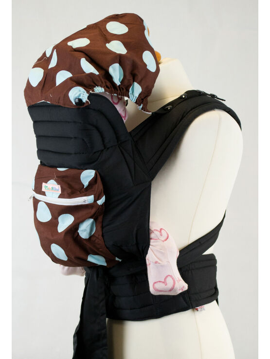 Mei Tai With Hood And Pocket - Brown With Baby Blue Spots
