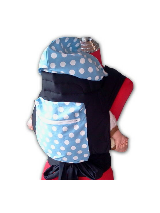 Light Blue Mei Tai Baby Sling With White Spots, Hood and Pocket