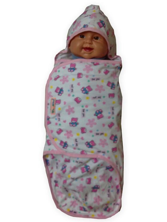 Palm & Pond Swaddle Wrap - Pink Bear