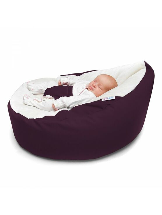 GaGa Cuddlesoft Aubergine Pre-Filled Washable Baby Bean Bag with Harness