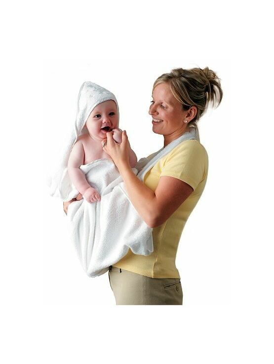 Clevamama Extra Large Hooded Baby Bath Towel & Apron Wrap - White