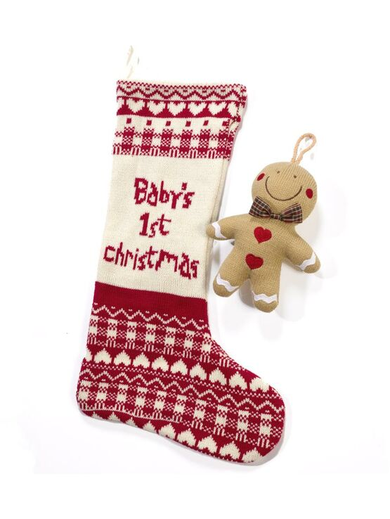 Bizzi Growin Baby's 1st Christmas Stocking and Gingerbread Man Rattle