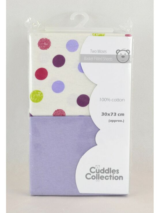 Cuddles Collection Moses basket fitted sheets 2 Pack - Purple/Spotty