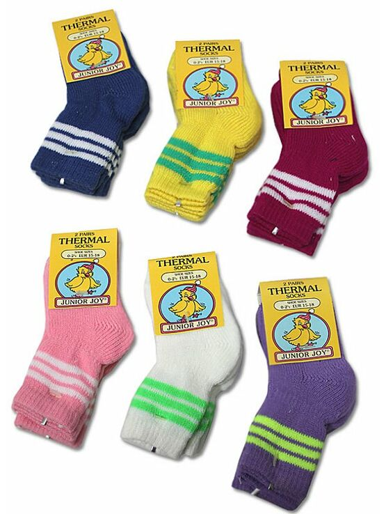 6 Pack of 2 Pairs Thermal Socks   Assorted Colours