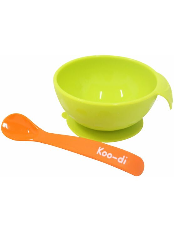 Koo-di Silicone Feed-me range Bowl and spoon set - Orange and lime