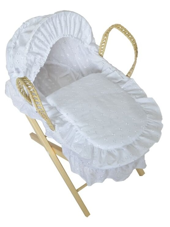 Dolls Broderie Anglais Moses Basket + Stand - Choose your Colour
